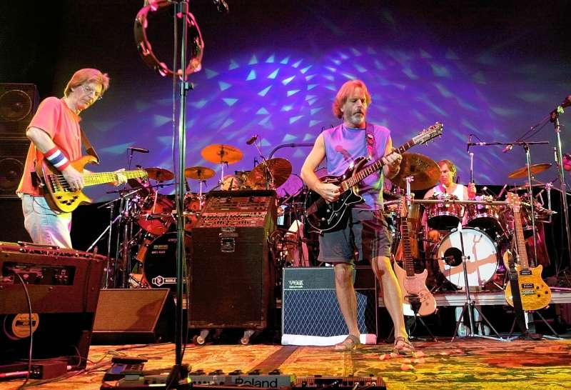 The Grateful Dead perform during a reunion concert Saturday, Aug. 3, 2002, in East Troy, Wis. From left are Phil Lesh, Bill Kreutzmann, Bob Weir and Mickey Hart.