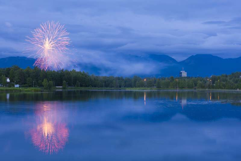 Fireworks over Westchester Lagoon, near downtown Anchorage, around midnight on July 4th.