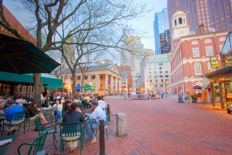 Boston's Faneuil hall, cafes and Quincy market.