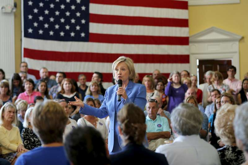 Democratic presidential candidate Hillary Clinton speaks during a campaign town hall meeting in Dover, New Hampshire July 16, 2015.