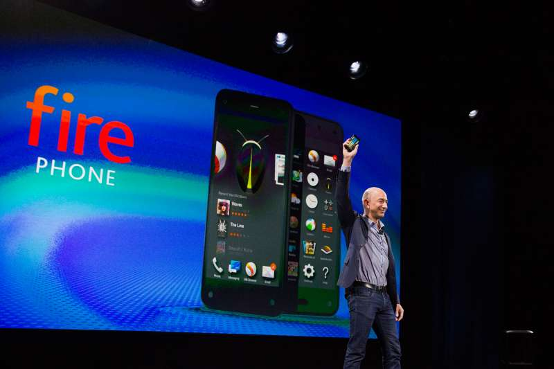 Jeff Bezos, chief executive officer of Amazon.com Inc., unveils the Fire Phone on June 18, 2014.