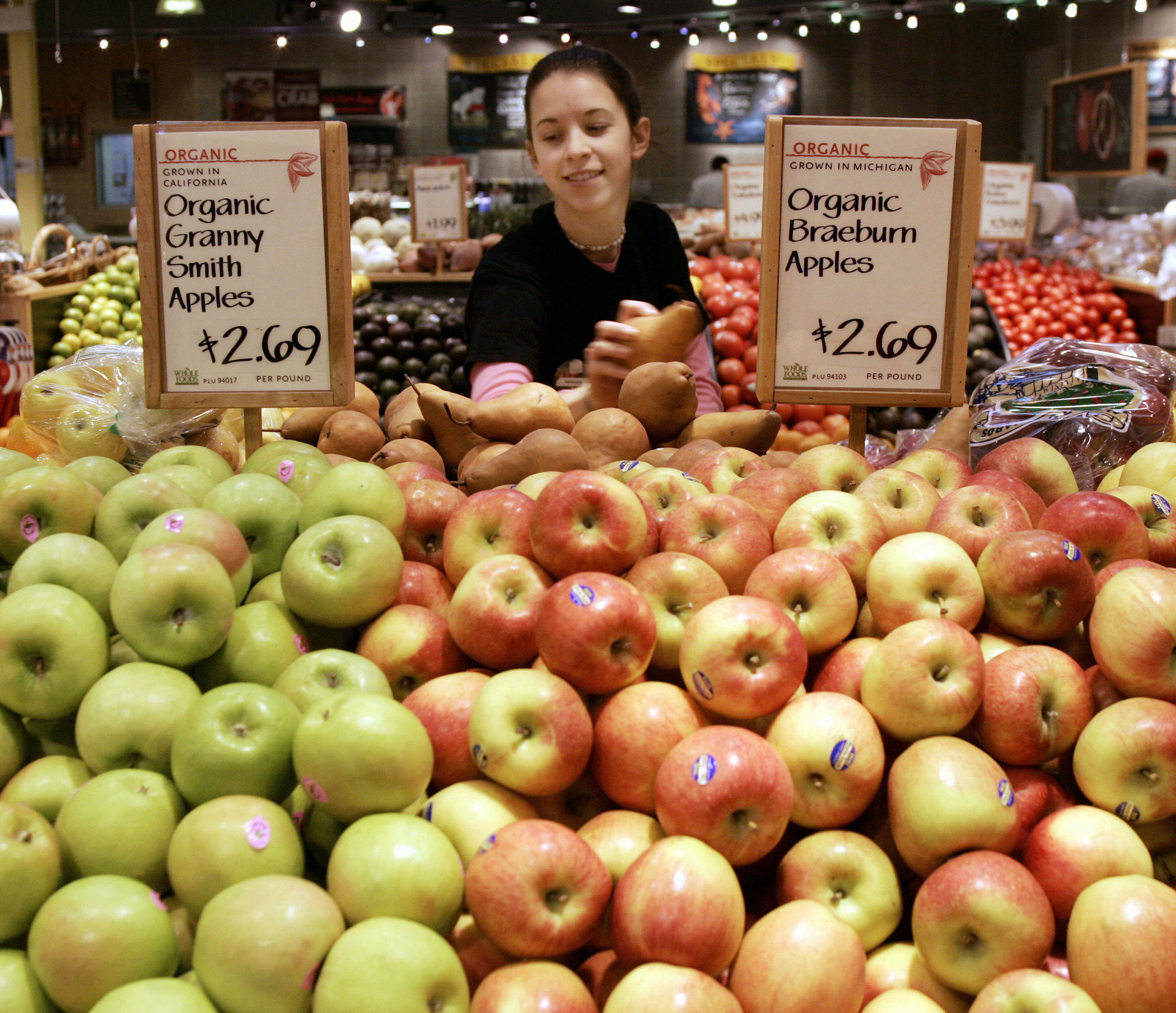 Organic produce sections in The Whole Foods Market in Willowbrook, Illinois