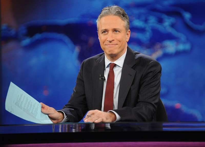 Television host Jon Stewart during a taping of  The Daily Show with Jon Stewart  in New York.