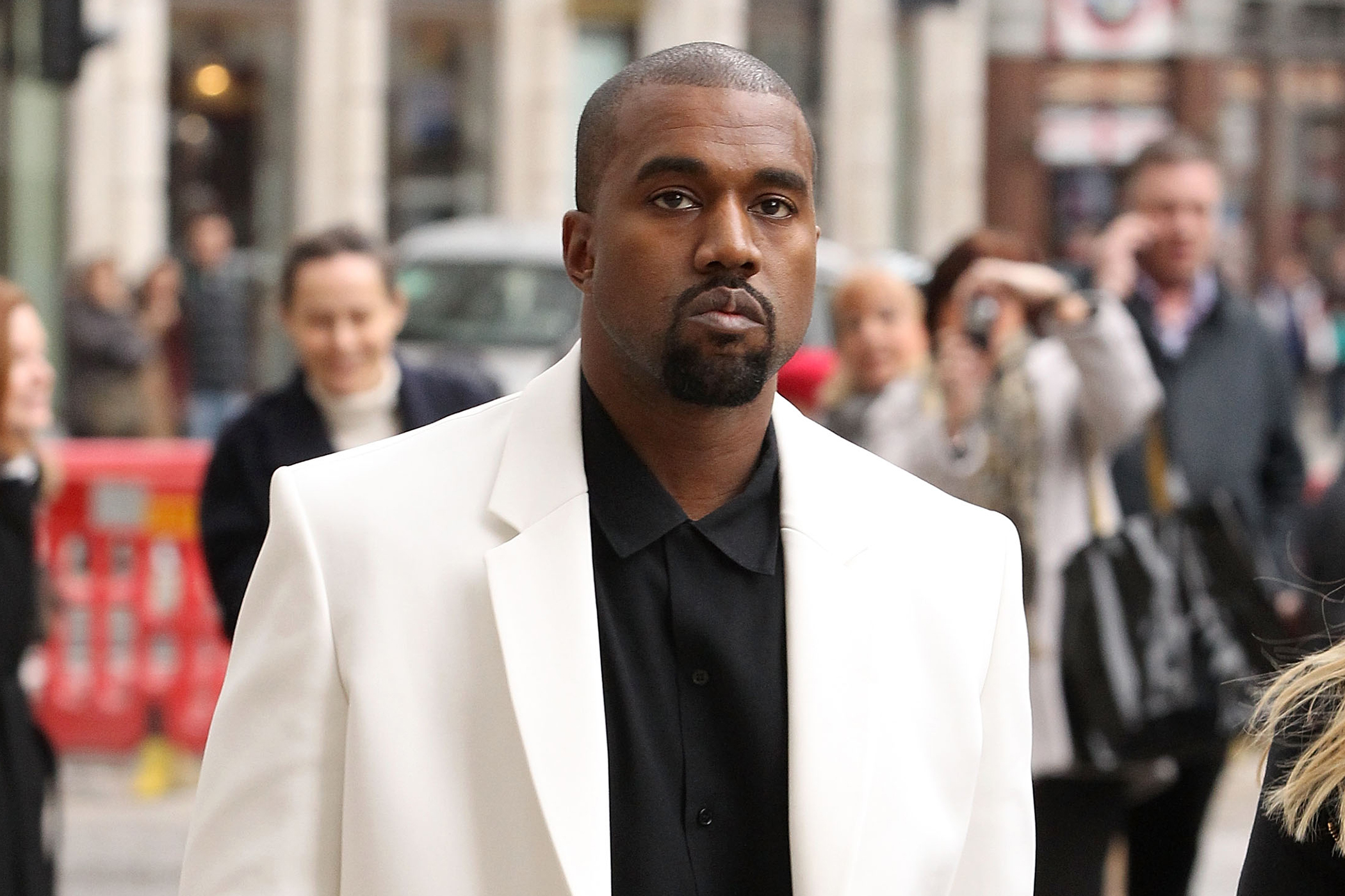 Kanye West during London Fashion Week Fall/Winter 2015/16 on February 20, 2015 in London, England.