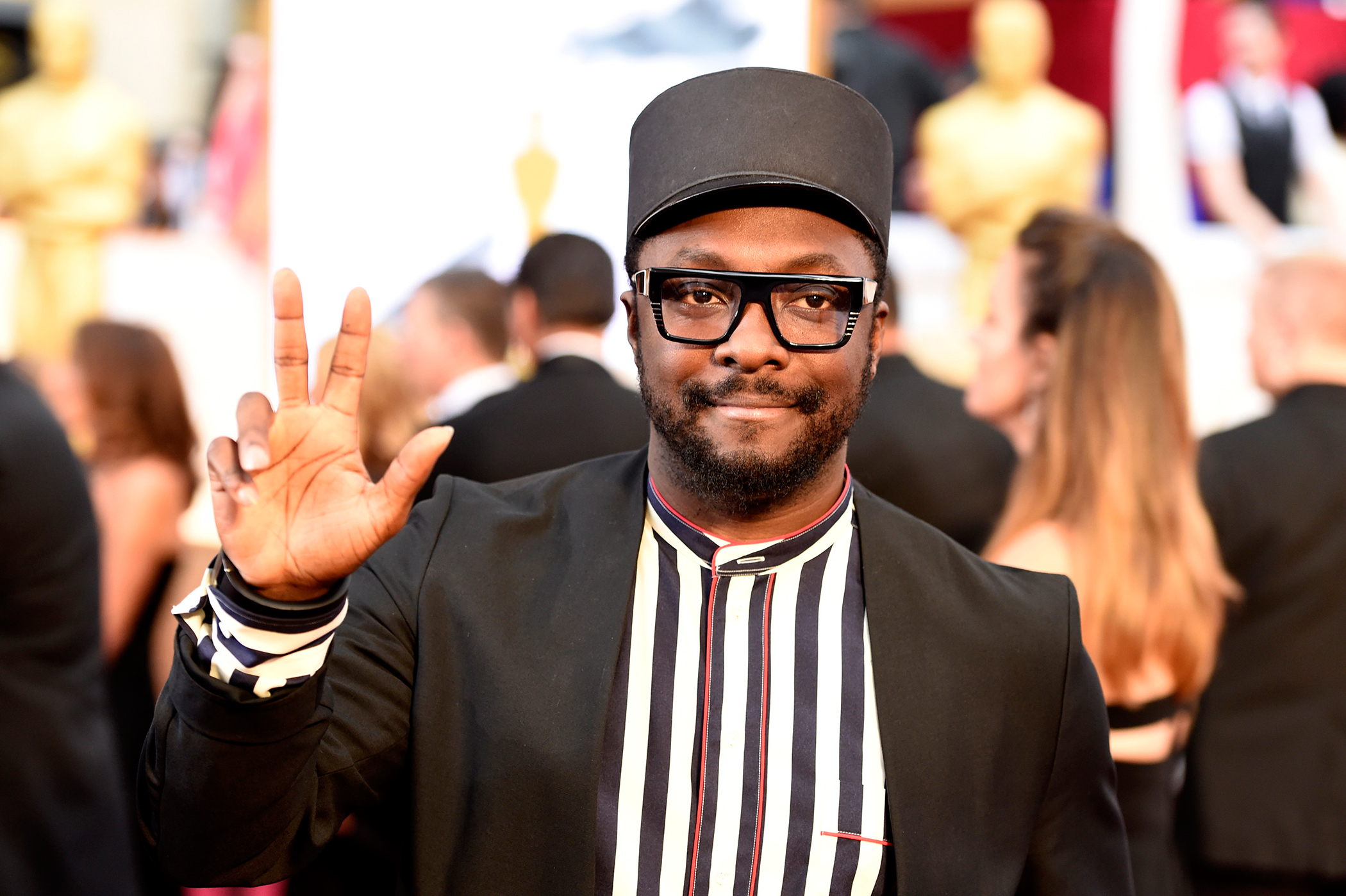 Will.i.am arrives at the Oscars on Sunday, Feb. 22, 2015, at the Dolby Theatre in Los Angeles.