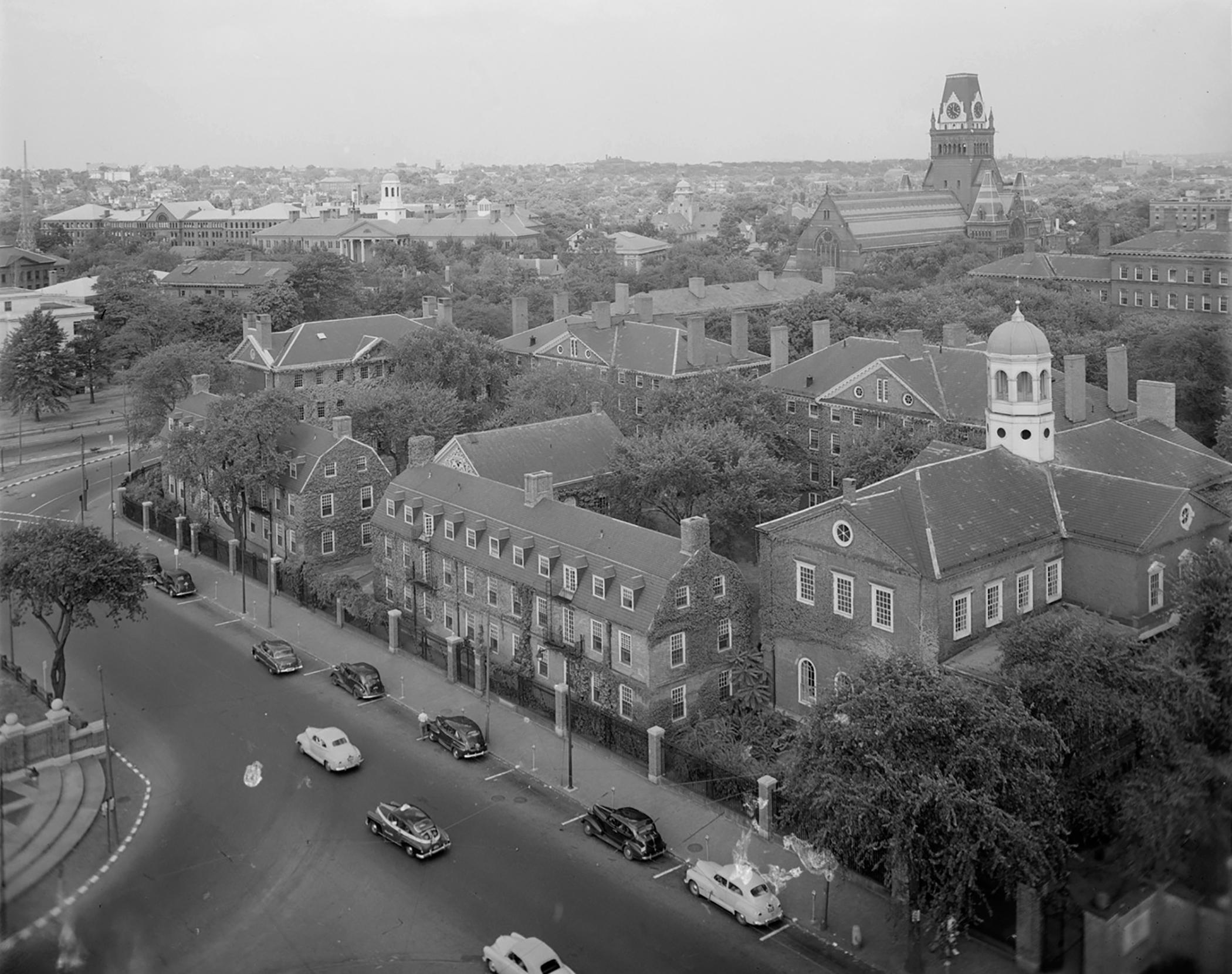 Bird's eye view of Harvard campus, ca. 1950s