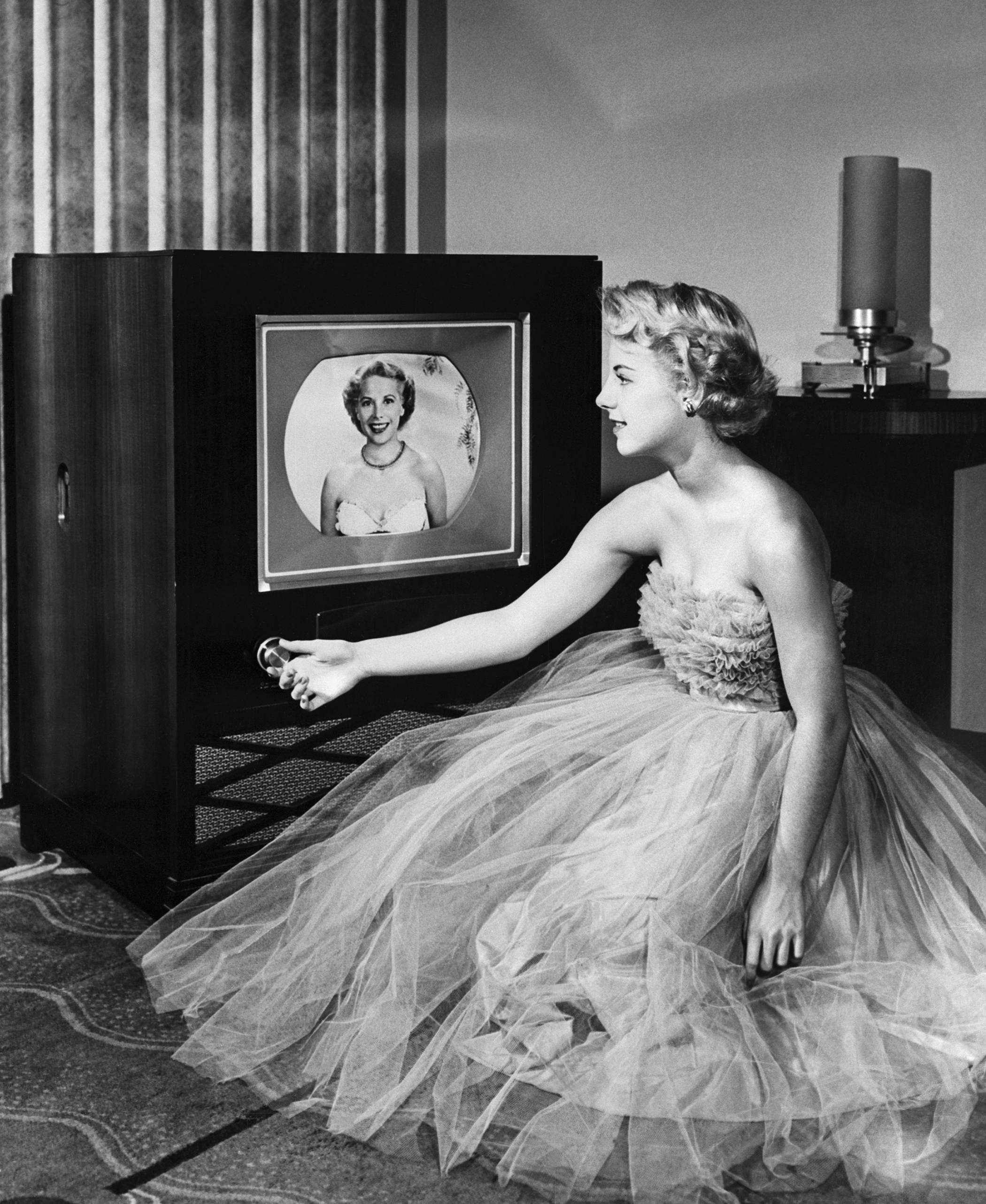 Color television made its debut in 1952 after the Federal Communications Commission accepted the RCA-developed  Compatible Color  System permitting colorcasting of programs without blanking the screens of black-and-white TV sets.
