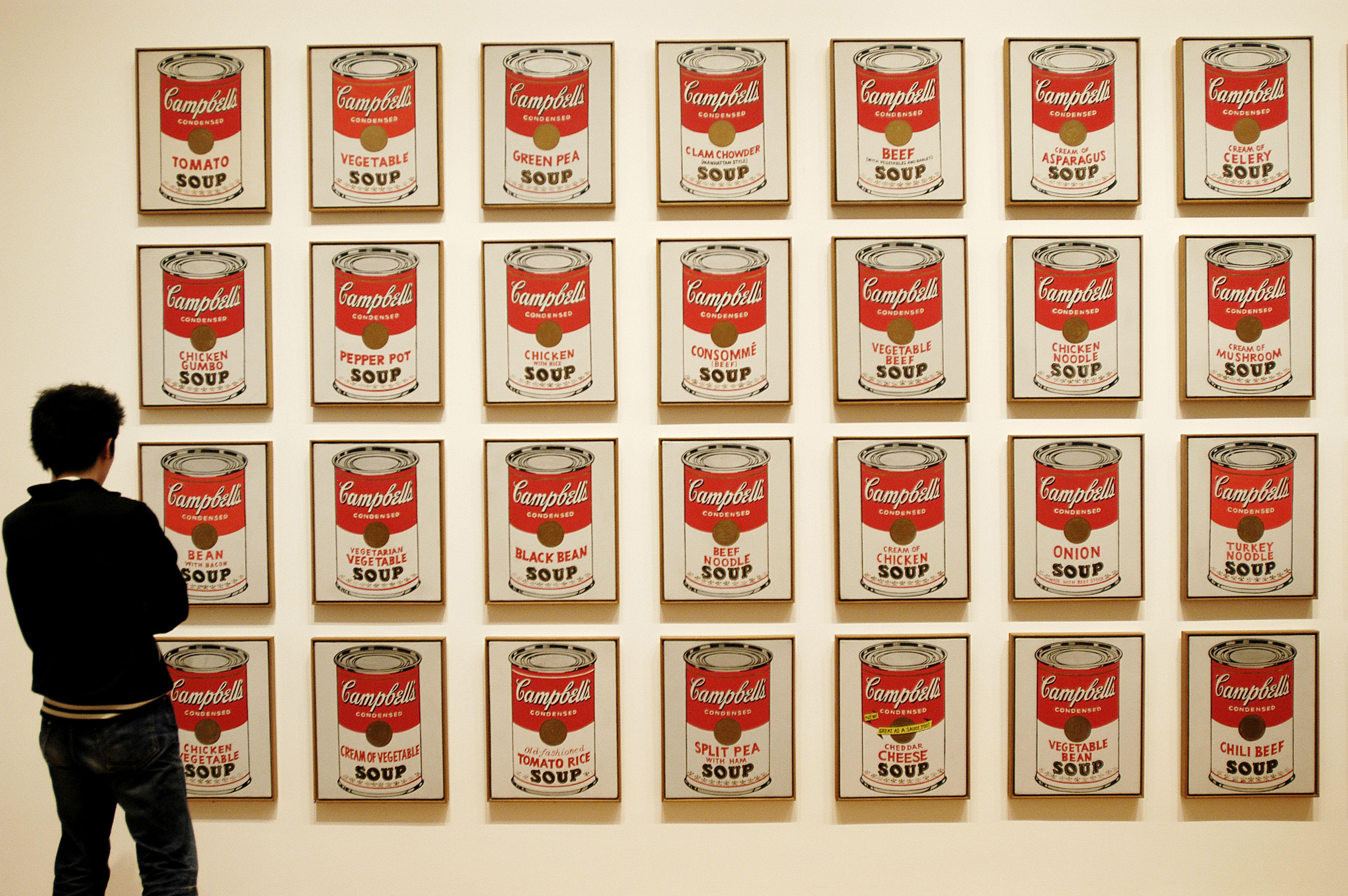 Visitor looking at Campbell´s Soup cans by Andy Warhol, Museum of Modern Art, New York City