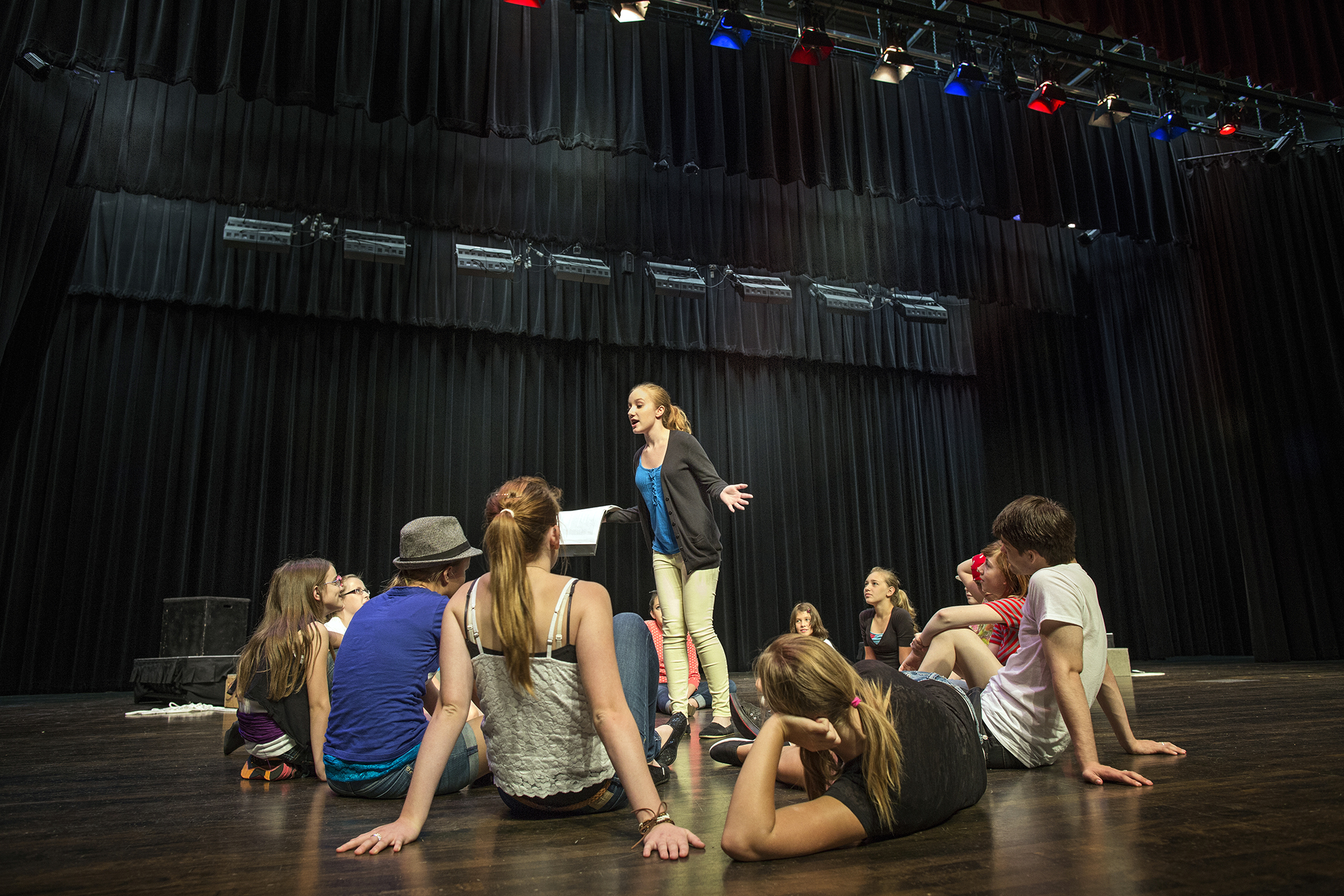 students in theater group