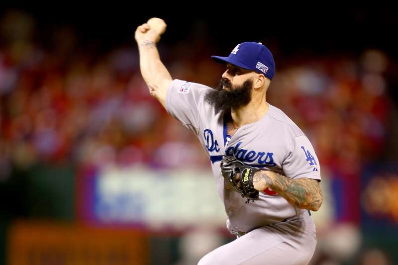 Brian Wilson, shown here when he pitched for the Los Angeles Dodgers in the eighth inning against the St. Louis Cardinals in Game Three of the National League Division Series at Busch Stadium on October 6, 2014 in St Louis, Missouri.