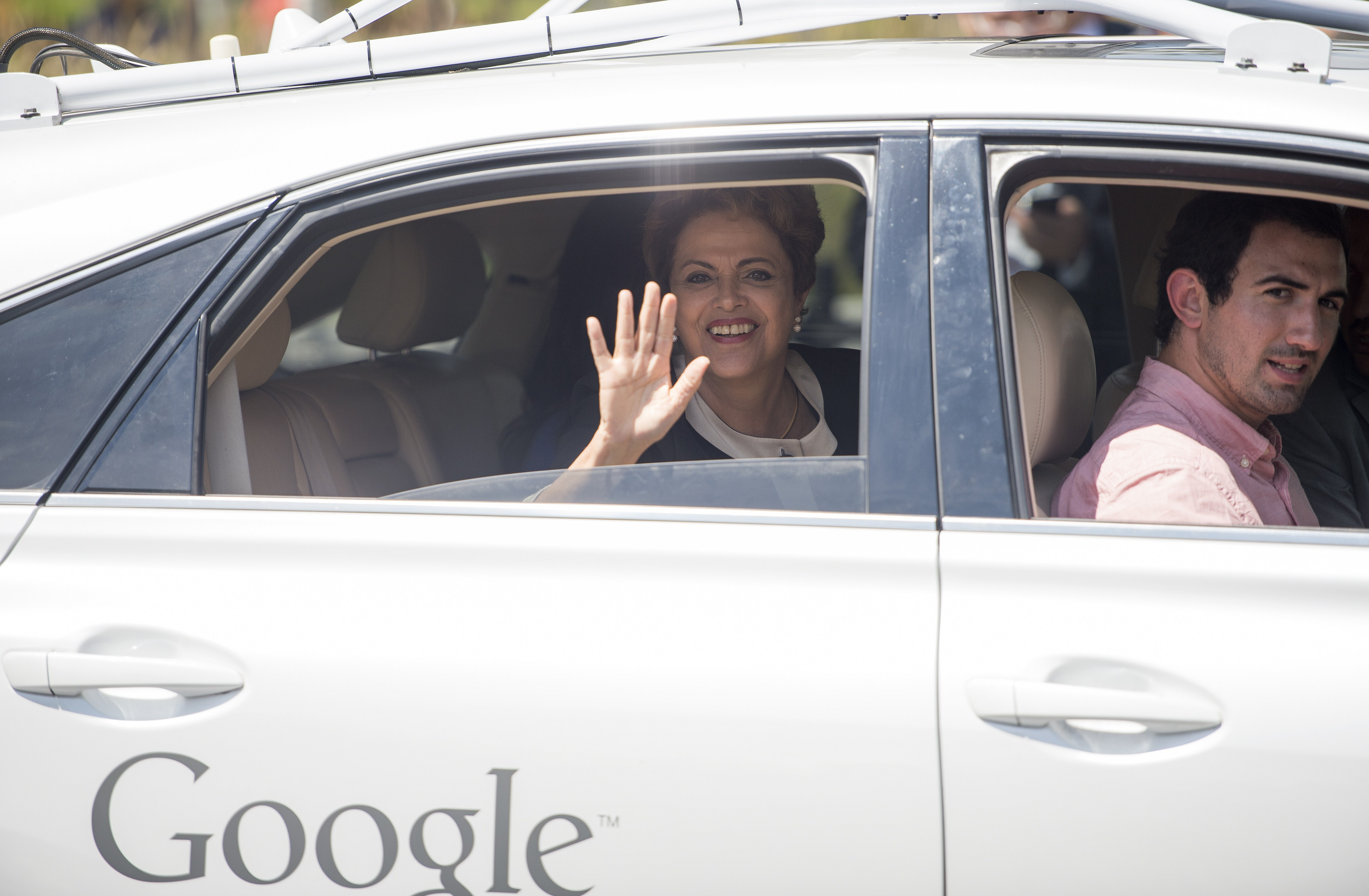 Brazil's President Dilma Rousseff takes a ride in a self-driving car at Google headquarters in Mountain View, California on Wednesday, July 01, 2015.