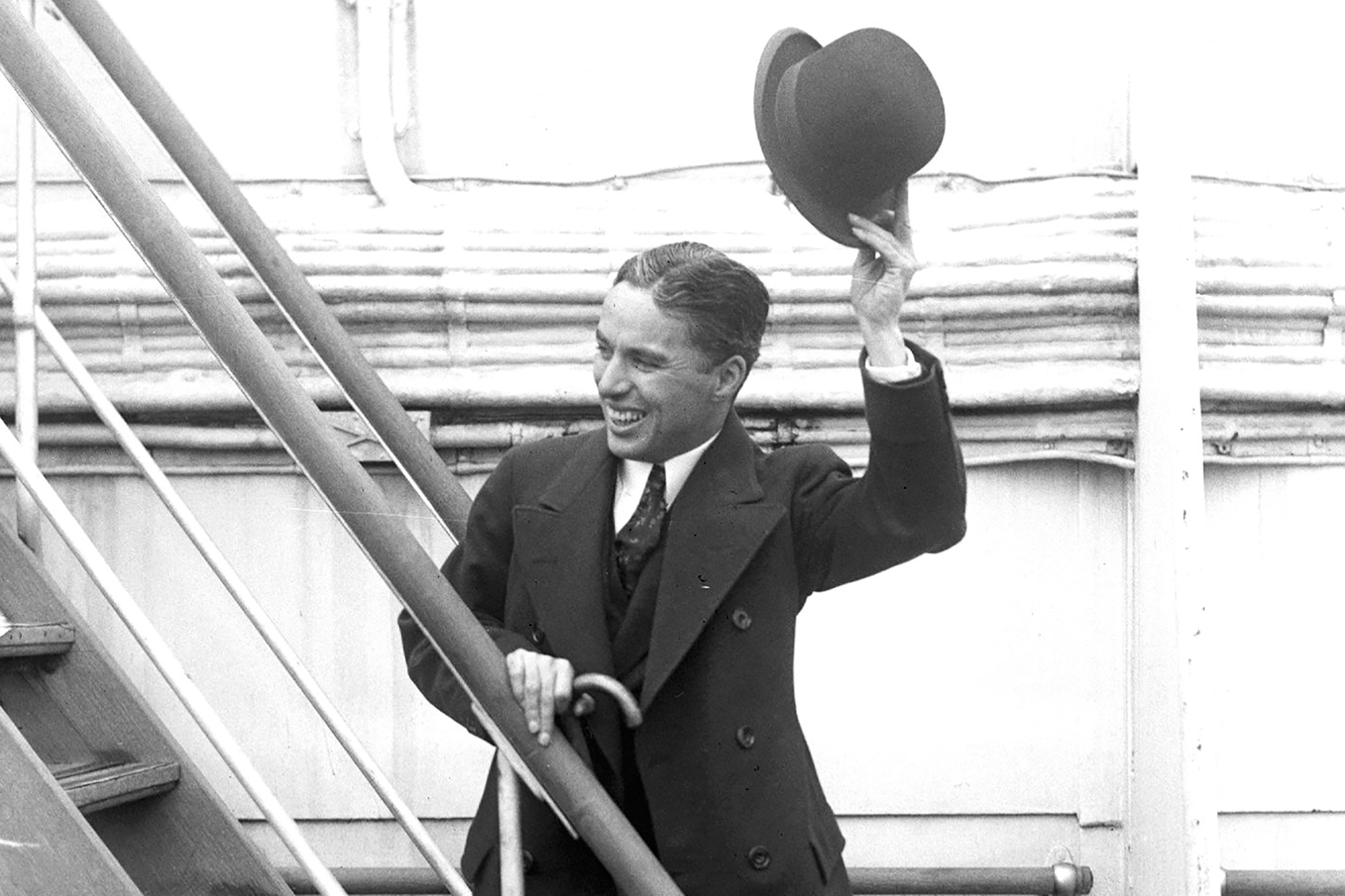 Charlie Chaplin returns from Europe, October 18, 1921.