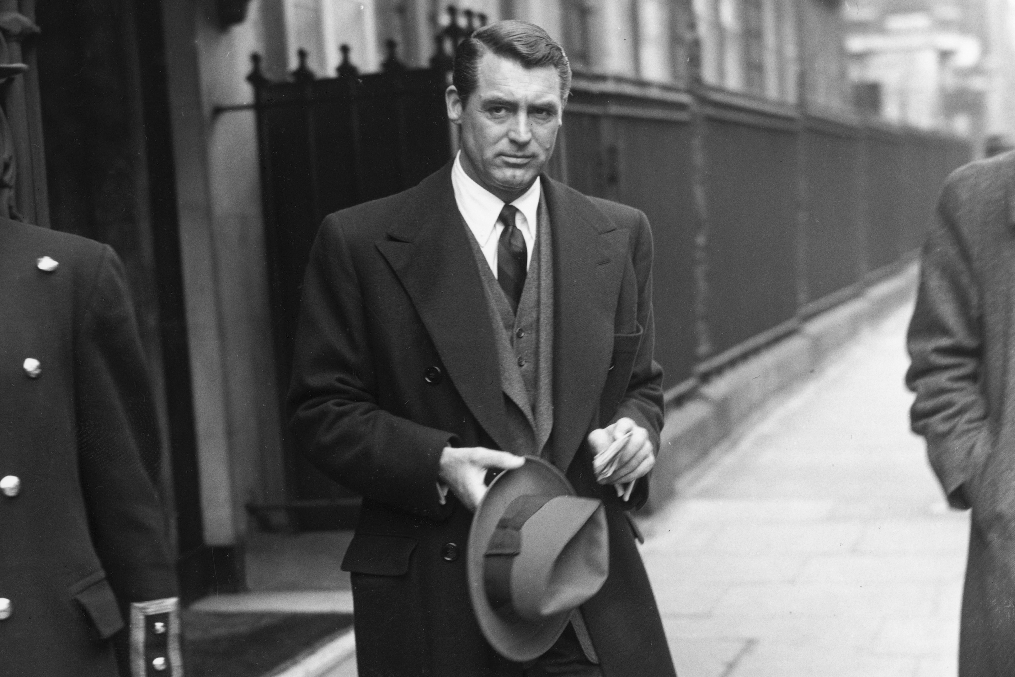 English-born actor Cary Grant leaving his London hotel, April 24, 1946.