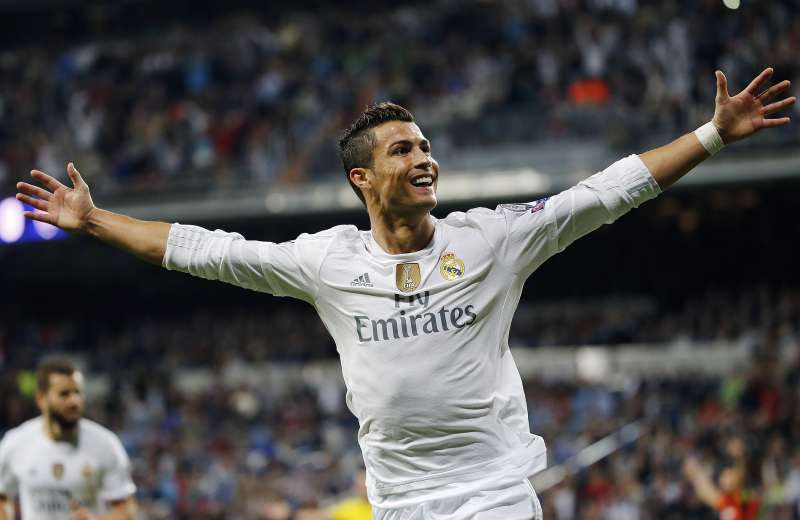 Cristiano Ronaldo of Real Madrid celebrates after scoring his team's fourth goal during the UEFA Champions League Group A match between Real Madrid CF and FC Shakhtar Donetsk at Estadio Santiago Bernabeu on September 15, 2015 in Madrid, Spain.