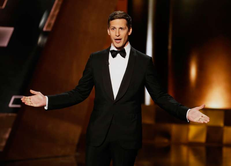 Host Andy Samberg takes the stage at the 67th Primetime Emmy Awards on September 20, 2015.