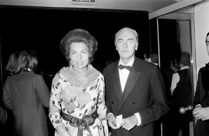 Former Secretary of State Andre Bettencourt and wife Liliane arrive at the Espace Cardin for the Marlene Dietrich's show on June 20, 1973 in Paris, France.