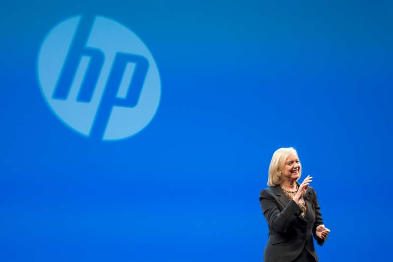 Meg Whitman, chief executive officer of Hewlett-Packard Co., speaks during the HP Discover 2015 conference in Las Vegas, Nevada, U.S., on Tuesday, June 2, 2015.