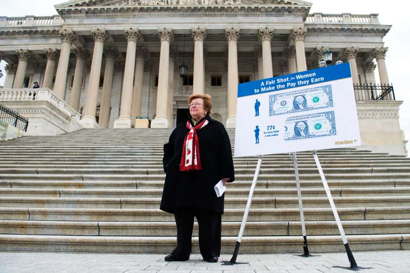 Sen. Barbara Mikulski, of Maryland waits for her colleagues to arrive before a news conference on the Senate steps of the Capitol to support equal pay for women and an increase in the minimum wage.