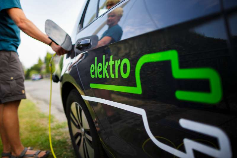 Oberlichtenau, Germany - August 08: An electric car is recharged on August 08, 2015 in Oberlichtenau, Germany.