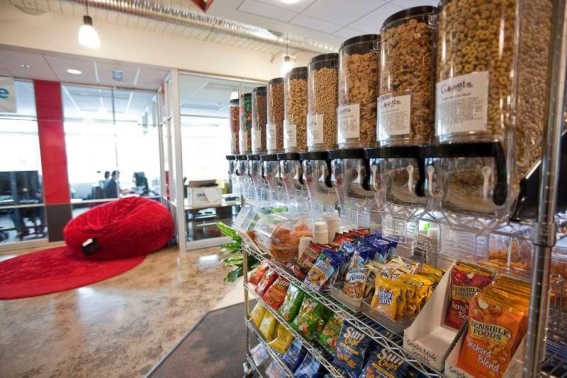 A cart full of snacks sits near a mini-kitchen in a Google Kirkland building October 28, 2009 in Kirkland, Washington.