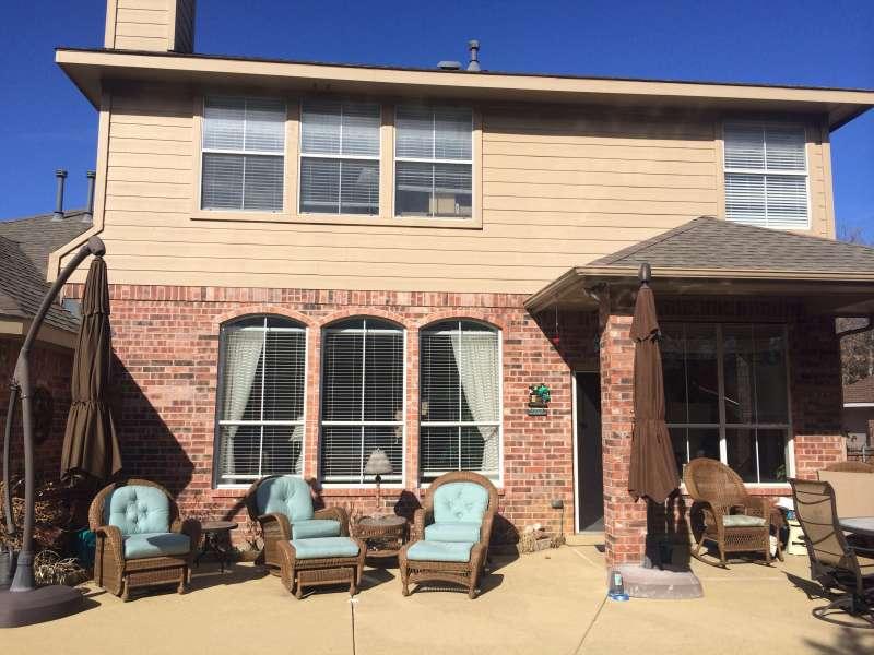 The rear view of a suburban home near Dallas, TX.