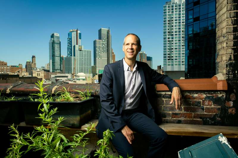 Alex Blumberg on the roof of Gimlet's Brooklyn offices