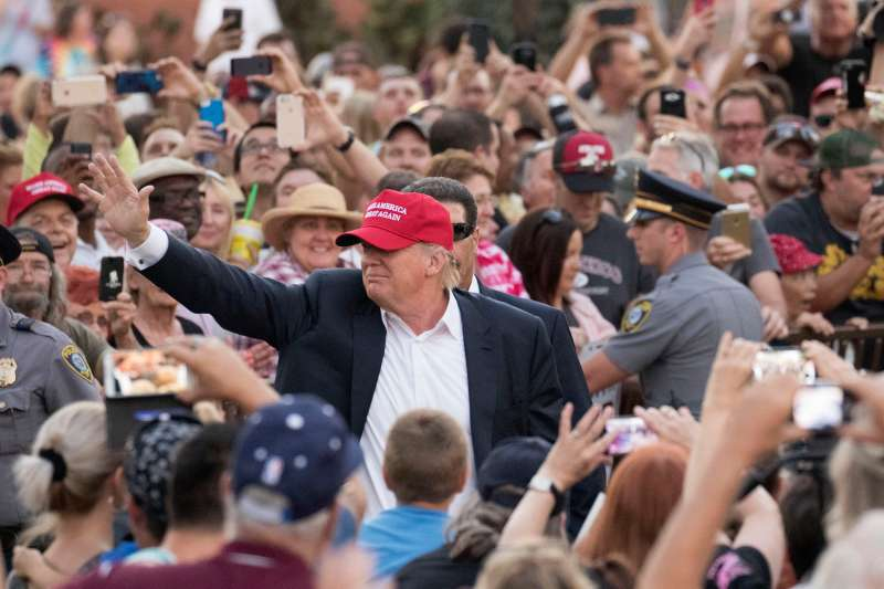 Republican presidential candidate Donald Trump delivers his message during a campaign rally at the state fair in Oklahoma City, Friday, September 25, 2015.