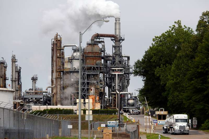 A Valero Energy oil refinery stands in Memphis, Tennessee, on April 27, 2015.