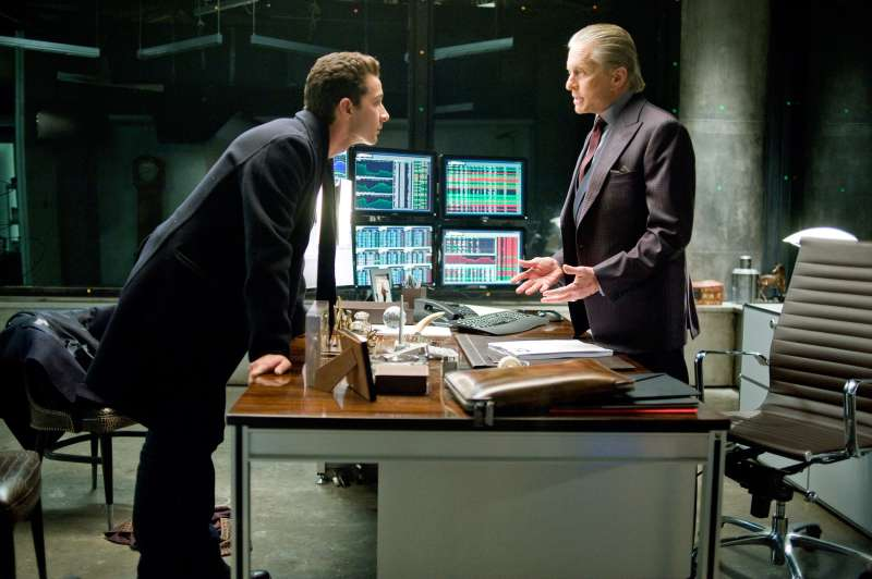 Shia Labeouf and Michael Douglas in WALL STREET: Money NEVER SLEEPS, once available on HBO Now