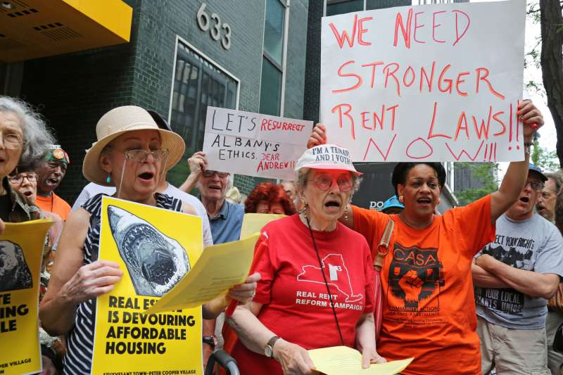 Rent regulations laws designed to keep New York City apartments affordable will expire June 15, 2015, and without an extension, over a million residents could be affected. The demonstrators are asking for at a minimum to extend those laws and better yet to have them strengthened.