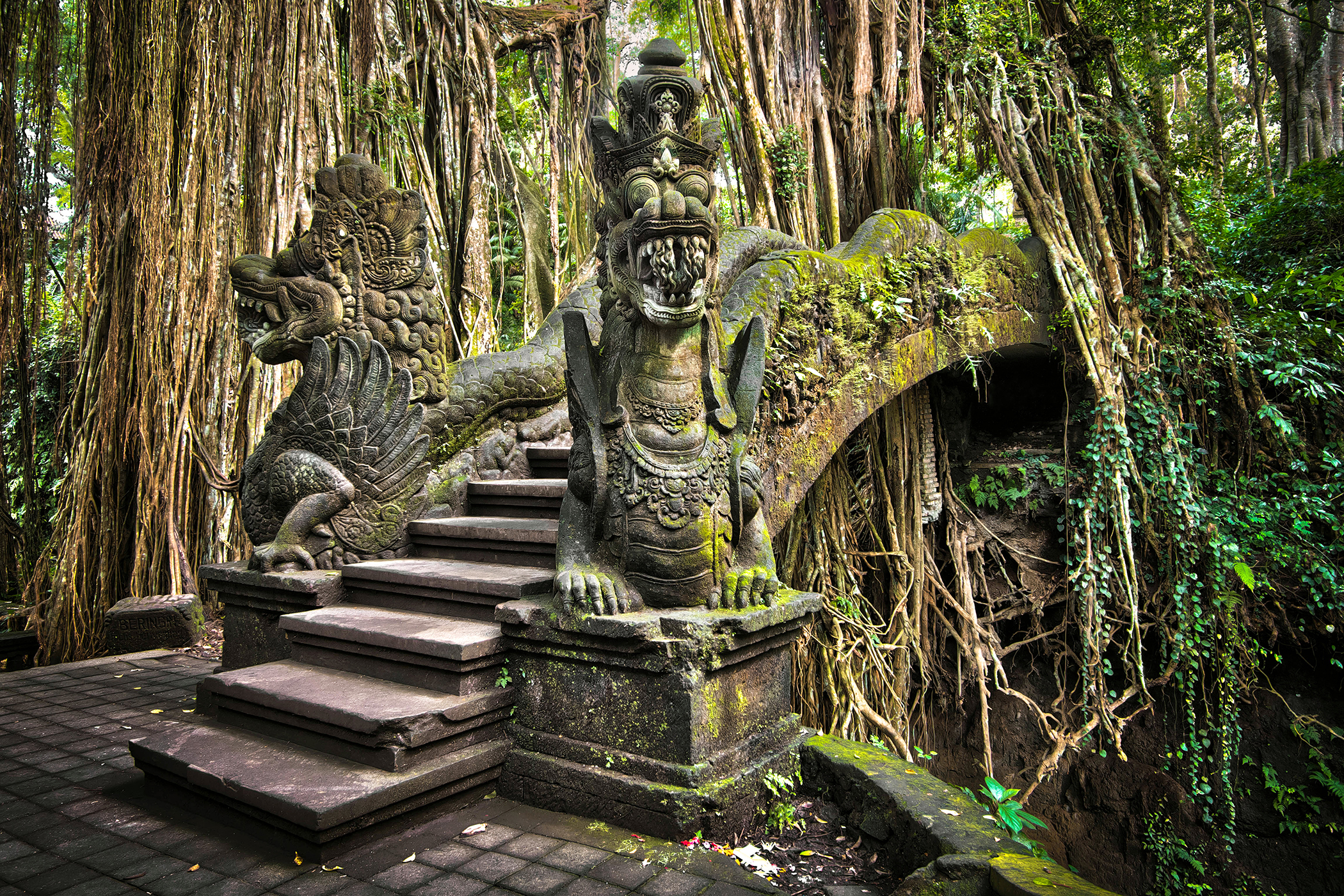 Bridge at Monkey Forest Sanctuary in Ubud, Bali, Indonesia