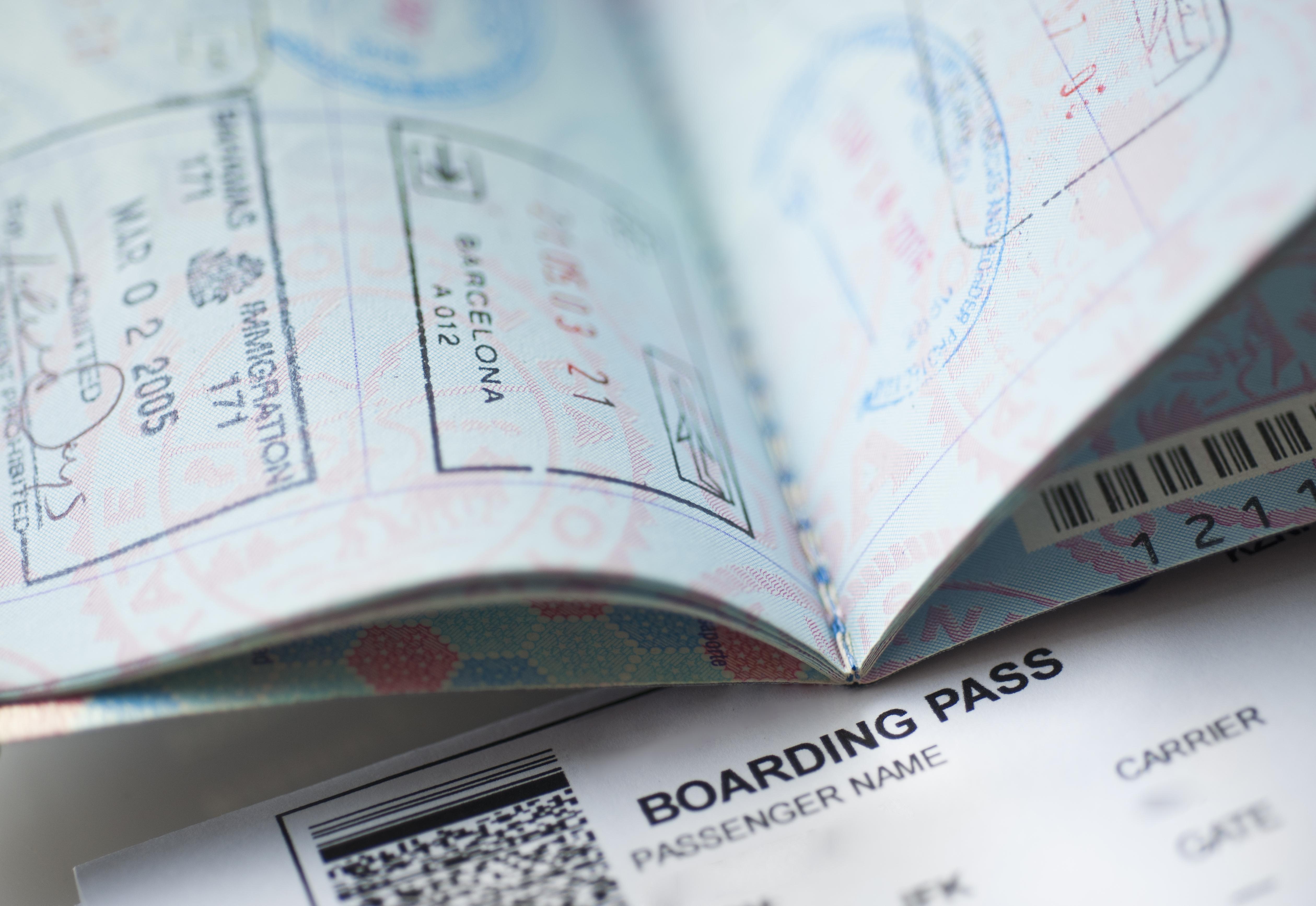 Passport with boarding pass inside
