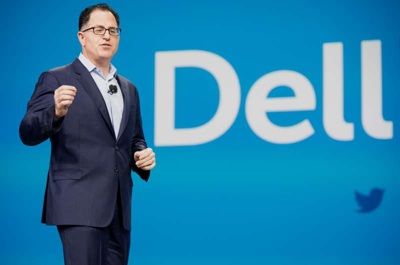 Michael Dell, founder and CEO of Dell Inc. talks onstage during the 2015 Dell World Conference in Austin, Texas, U.S., on Wednesday, Oct. 21, 2015.