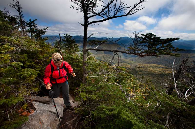 An hiker on the Franconia Ridge Trail in New Hampshire.