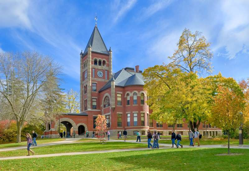 Thompson Hall at the University of New Hampshire. New Hampshire has some of the country's highest public college tuition and lowest per-student funding.