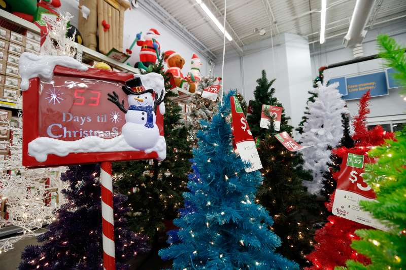 Holiday decorations on display at a Walmart store
