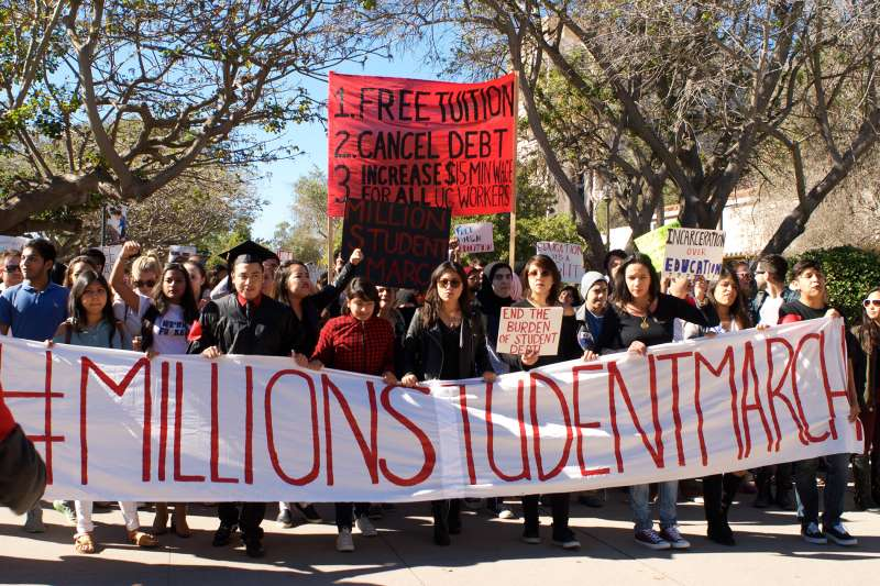 The #MillionStudentMarch at the University of California-Santa Barbara campus, drew an estimated 1,000 to 2,000 students on Nov. 12.