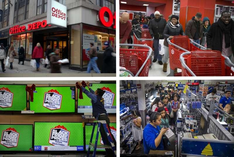 (clockwise from top left) Office Depot, Target, Best Buy, Walmart