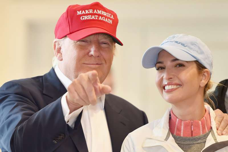 Republican Presidential Candidate Donald Trump with his daughter Ivanka Trump on July 30, 2015 in Ayr, Scotland.