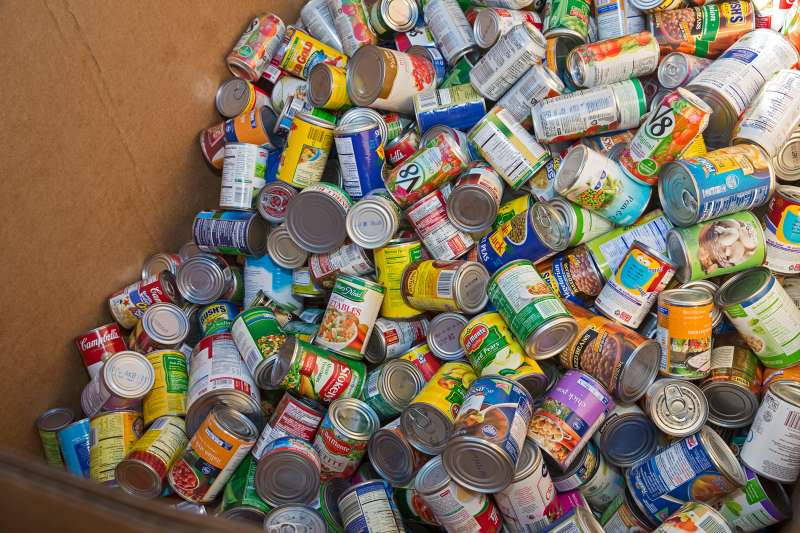 Canned goods collected by Boy Scouts and Girl Scouts for needy families in an annual program called Scouting for Food. The food was distributed through the Gleaners Food Bank, St. Clair Shores, Michigan, November 14, 2015.
