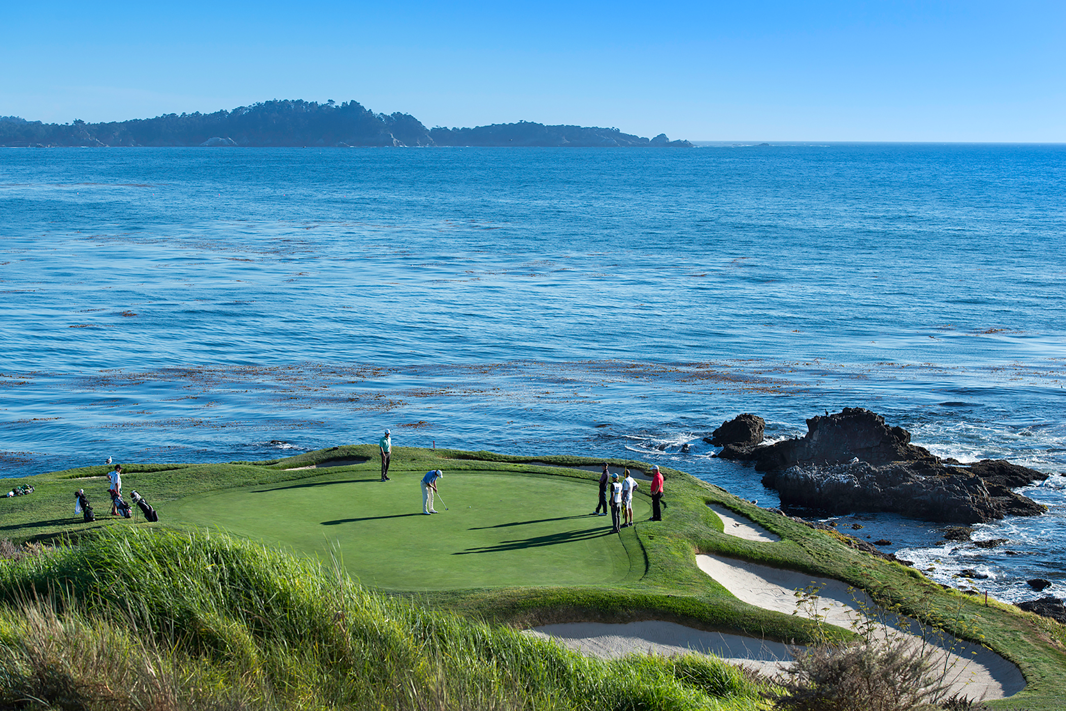 The legendary par-3 7th hole at Pebble Beach (and its legendary water hazard—the Pacific)