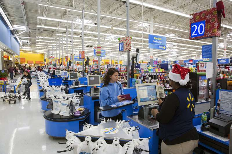 A shopper checks out at a Walmart store in Secaucus, New Jersey, November 11, 2015.