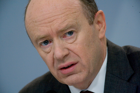 John Cryan, CEO of Deutsche Bank AG (German Bank), during the press conference in Frankfurt.