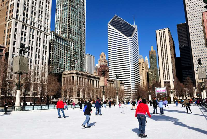 Skating in Chicago, where there are bargains to be had on an urban holiday vacation.