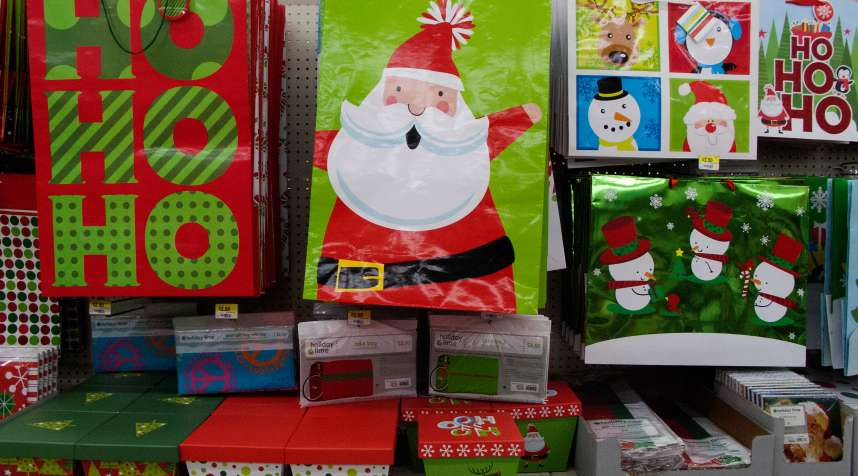 Christmas items are displayed at a Walmart store.