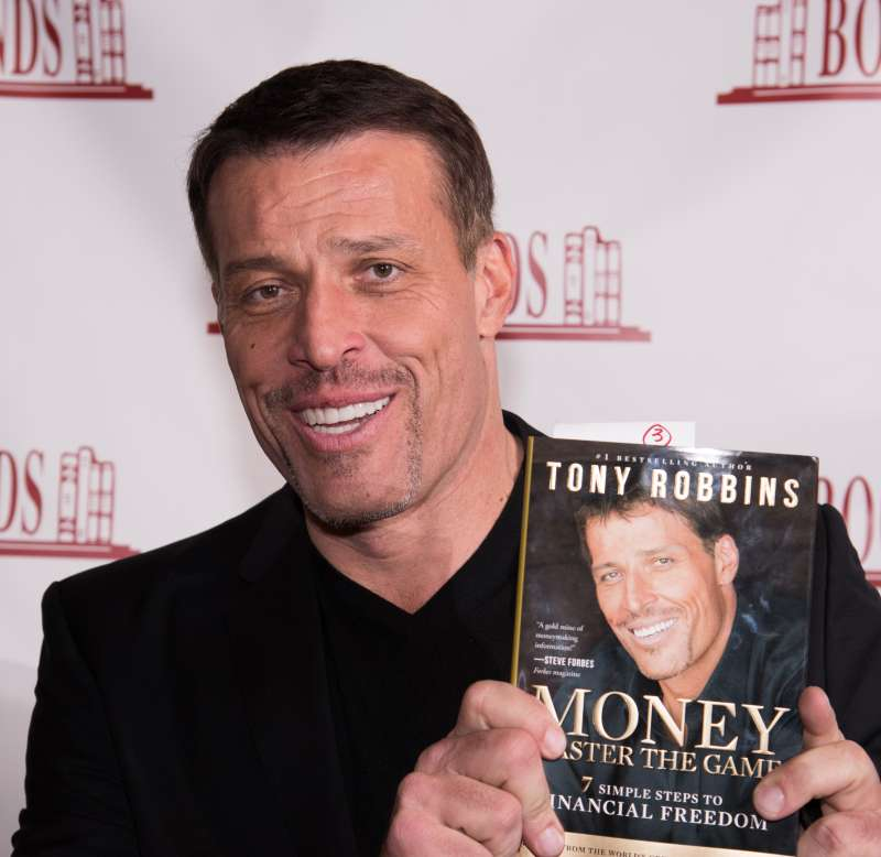 Tony Robbins signs copies of his book  Money: Master of the Game  in Ridgewood, New Jersey.