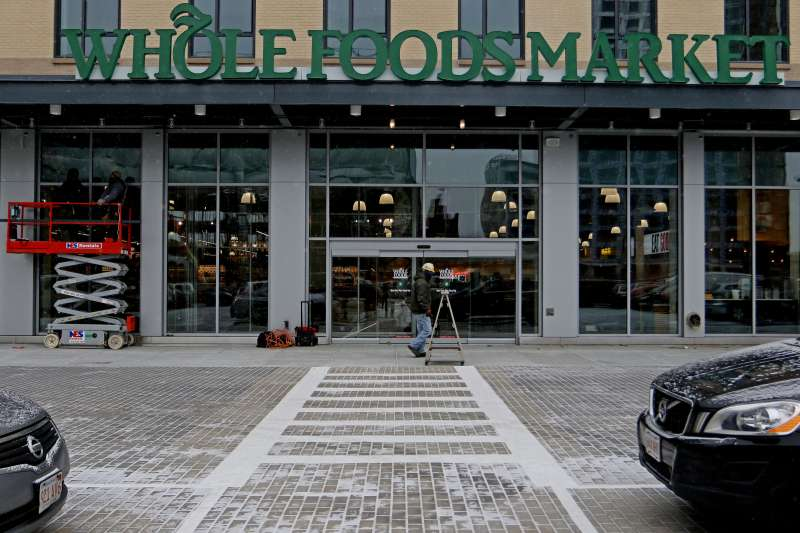 The main entrance of the new Whole Foods Market, at the site of the former Boston Herald, in South End.