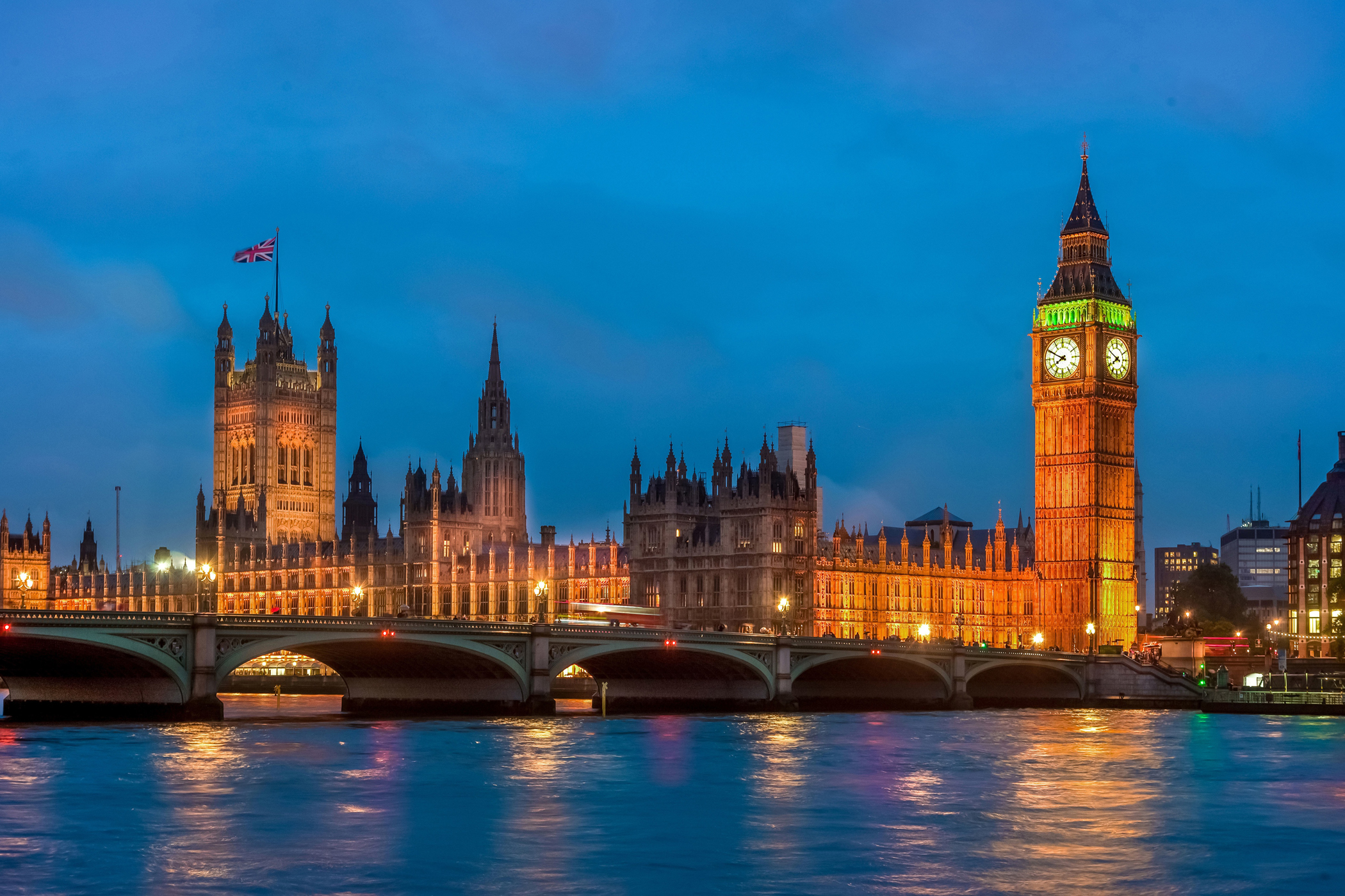Houses of Parliament, Big Ben and Westminster bridge, London