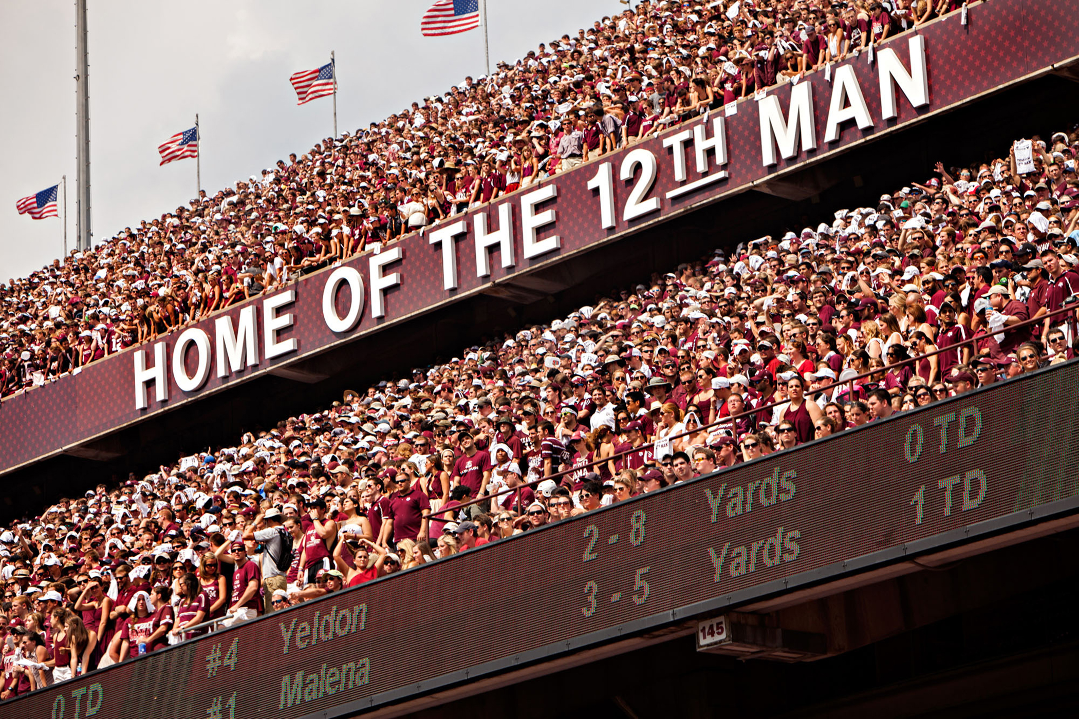 Texas A&M University shows off its trademarked slogan.