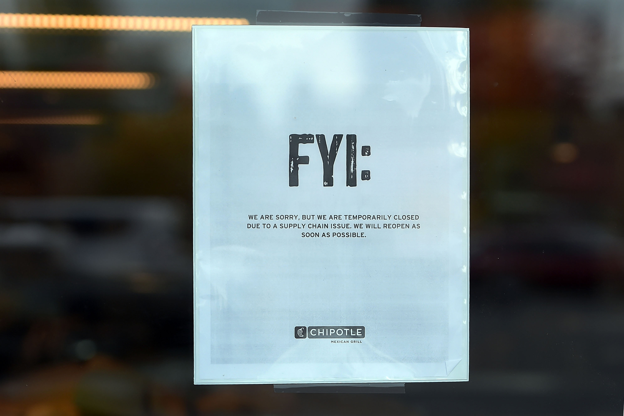 A sign at a Chipotle Mexican Grill location in Vancouver, Wash., alerting customers that over 40 restaurants were temporarily closed in November, as health officials investigated an E. coli outbreak.